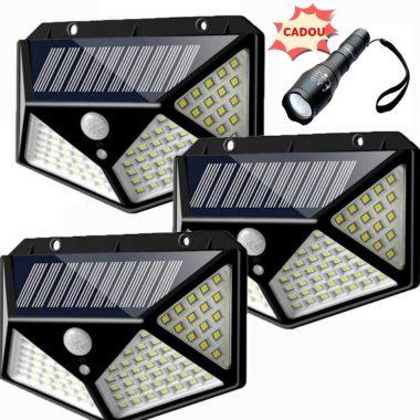 Set 3 x Lampa 100 LED cu panou solar, senzor de miscare + CADOU (lanterna)
